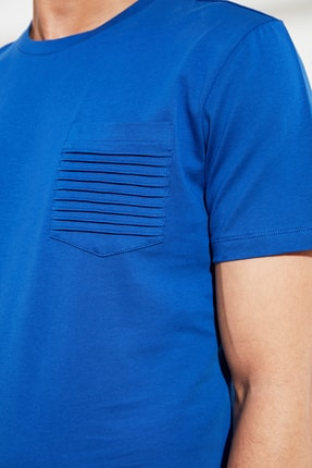 TRENDYOL MAN Saks Erkek Slim Fit Bisiklet Yaka T-Shirt TMNSS21TS0443 3