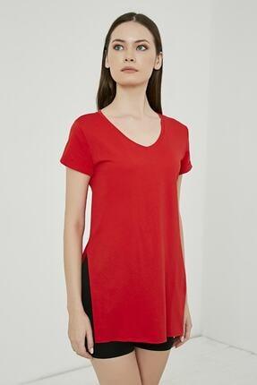 IŞILDA Kadın Giyim Yanları Yırtmaçlı Kısa Kol Basic Tshirt 0