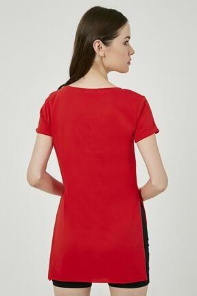 IŞILDA Kadın Giyim Yanları Yırtmaçlı Kısa Kol Basic Tshirt 2