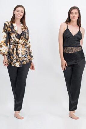 476-s-v1 Avangarde Kadın Saten 3'lü Sabahlıklı Pijama Takım resmi