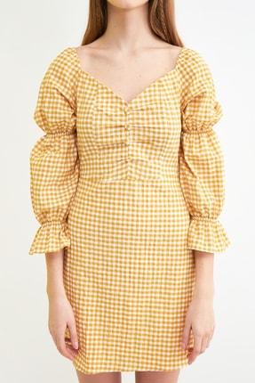 TRENDYOLMİLLA Sarı Kareli Kol Detaylı Elbise TWOSS21EL0602 3