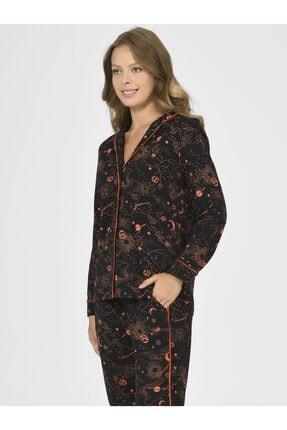 Nbb Kadın Siyah Galaksi Önden Düğmeli Pijama Takımı 67006 2
