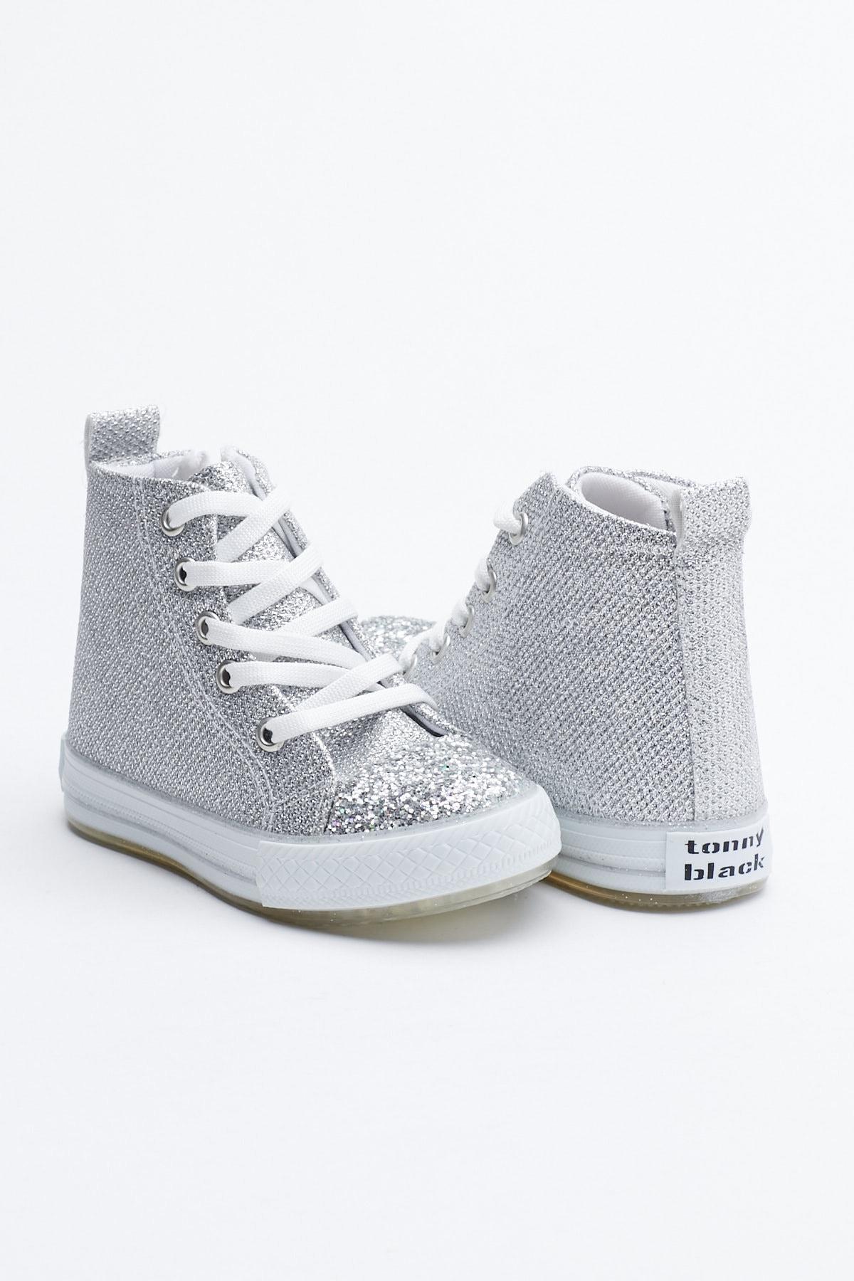 Tonny Black Gümüş Çocuk Spor Ayakkabı Uzun Tb999 1