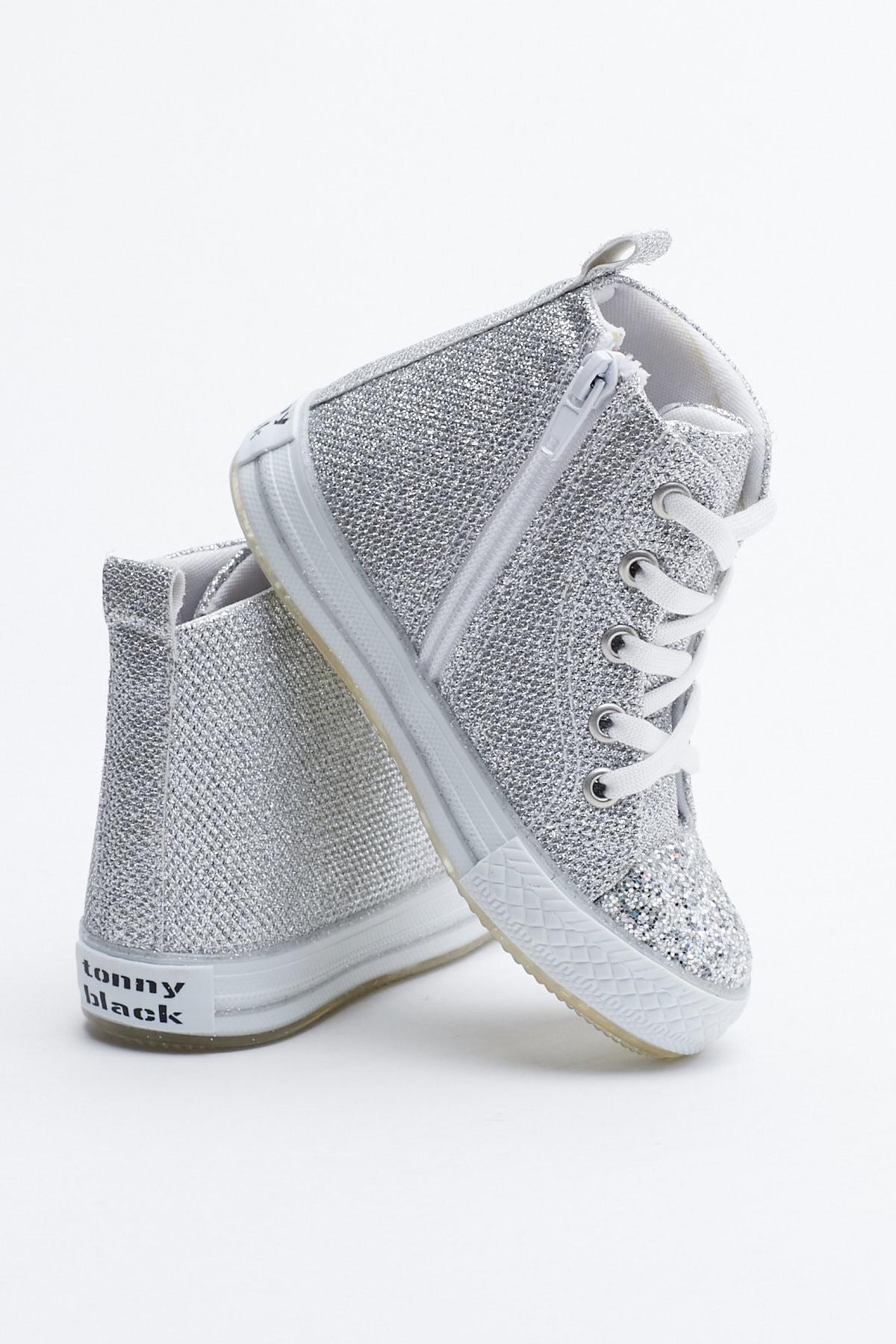 Tonny Black Gümüş Çocuk Spor Ayakkabı Uzun Tb999 2