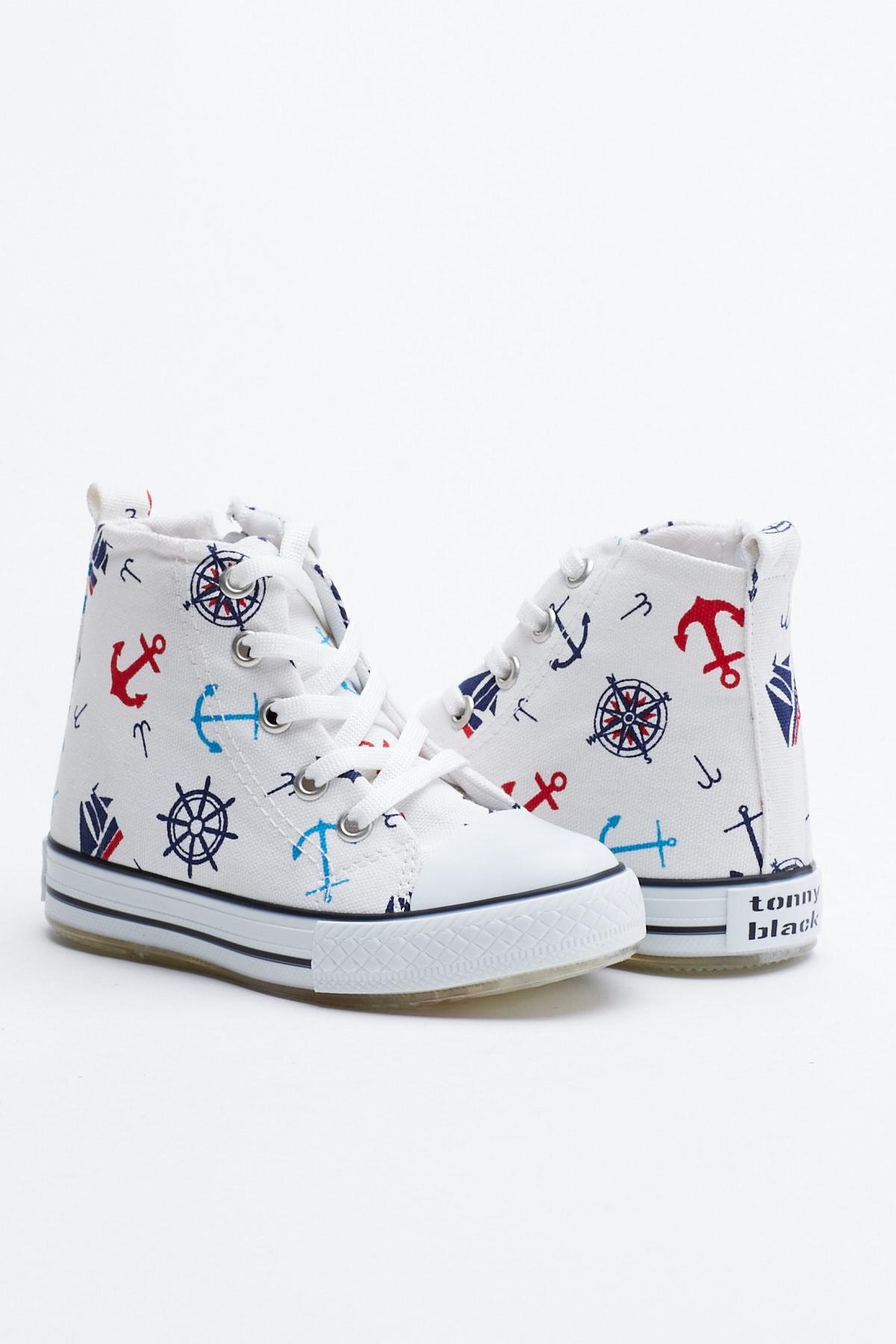 Tonny Black Beyaz Lacivert Çocuk Spor Ayakkabı Uzun Tb999 0