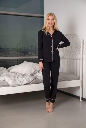 Huq Moda Kadın Siyah Pamuklu Likralı Biyeli Pijama Takımı 1