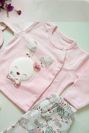 Gaye Kız Bebek Pembe Pamuklu Tavşan Desenli Hastane Çıkışı 5li 1