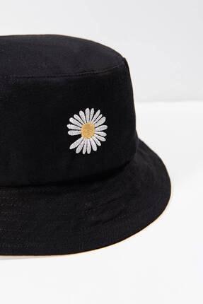 Addax Kadın Siyah Papatya Işlemeli Bucket Şapka Şpk1035 - F1 Adx-0000022885 0