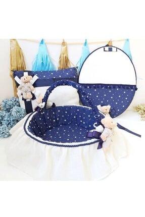Hayaller Dükkanı 3  lü Set Erkek Bebek Lacivert Ayıcıklı Kapı Süsü Yastık Sepet Bebek Süsleri- 0