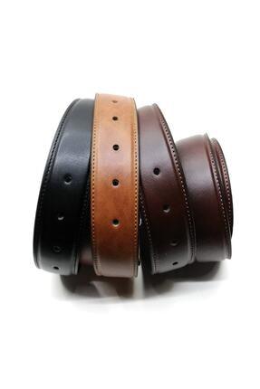 Cascades Leather 3 Adet Siyah , Kahve , Taba 3,5 Cm Derili Erkek Kumaş Pantolon Kemeri 2