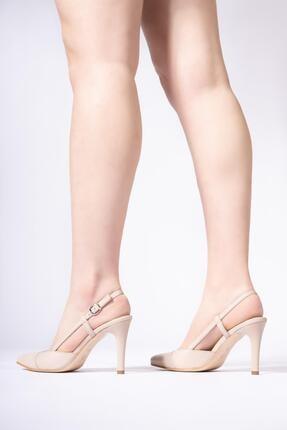 CZ London Hakiki Deri Kadın Kemerli Stiletto Arkası Açık Topuklu Ayakkabı 4