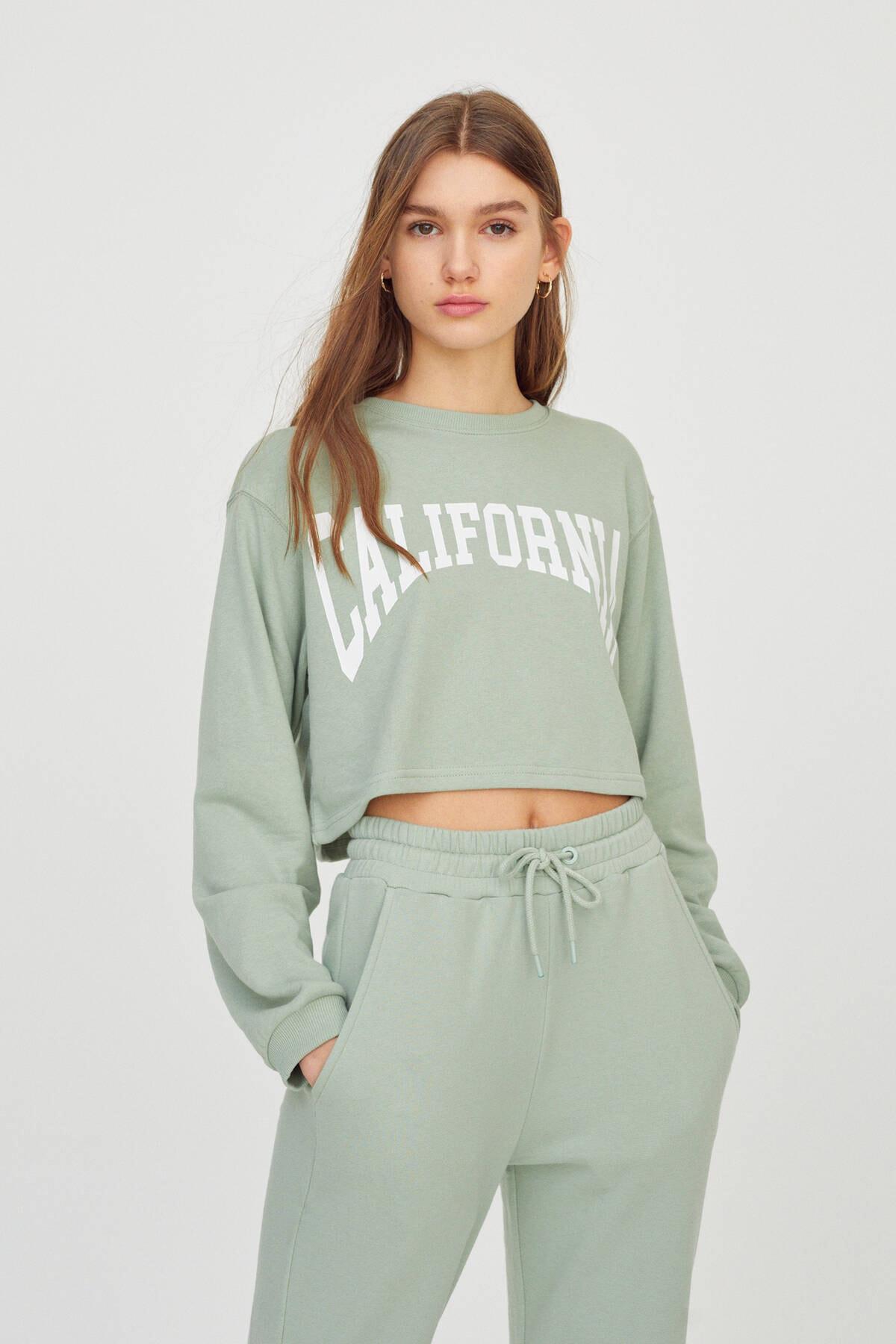 Pull & Bear Kadın  Açık Yeşil Kontrast Yazılı Sweatshirt 04591442 0