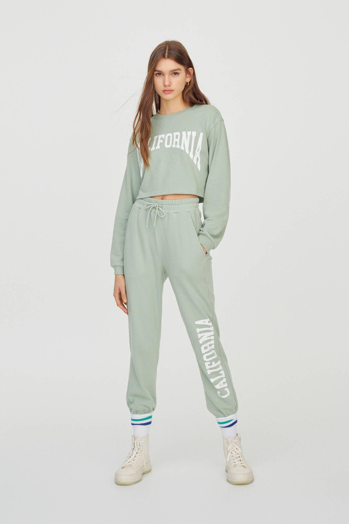 Pull & Bear Kadın  Açık Yeşil Kontrast Yazılı Sweatshirt 04591442 1
