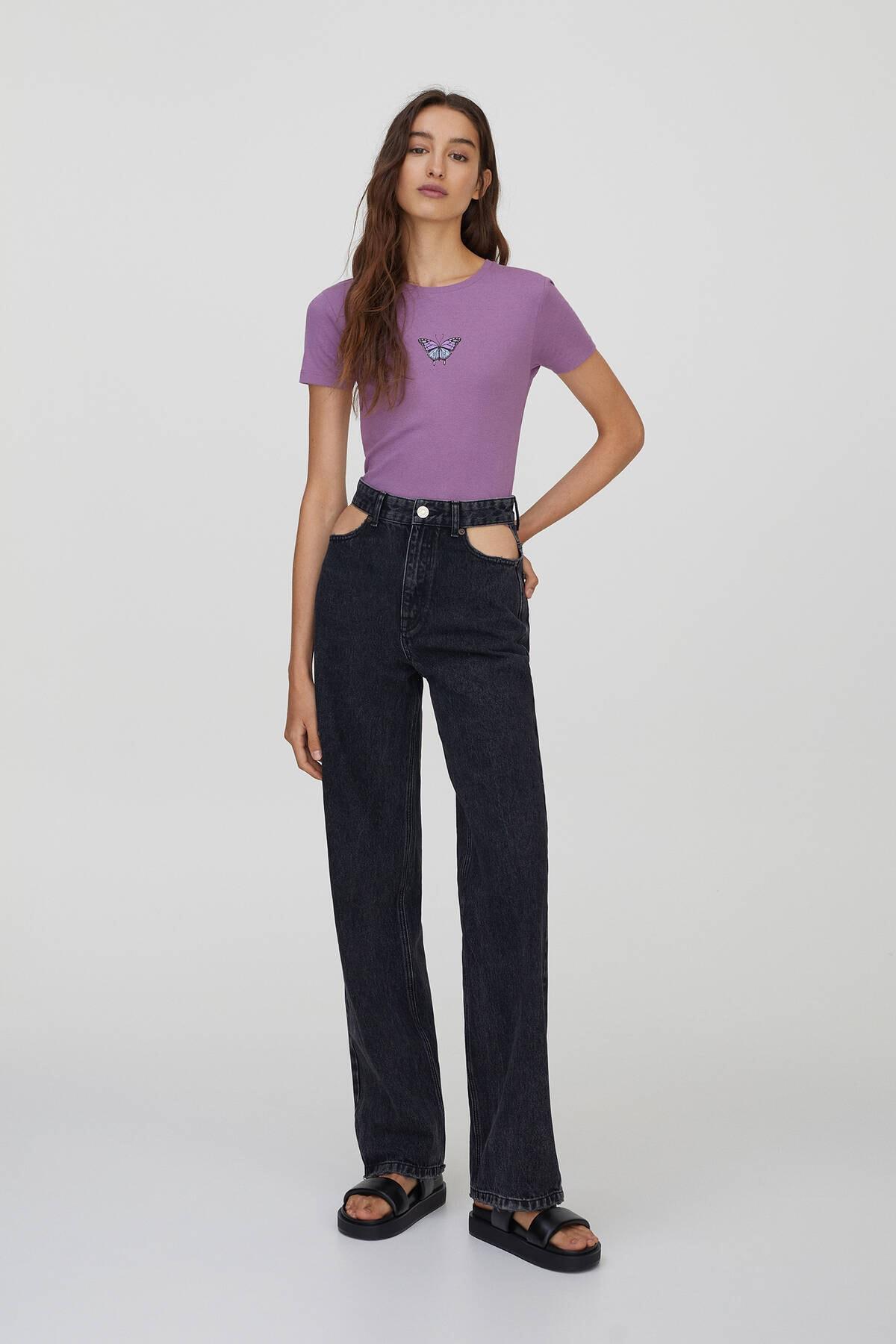 Pull & Bear Kadın  Leylak Grafik Baskılı Fitilli T-Shirt 09247324 1