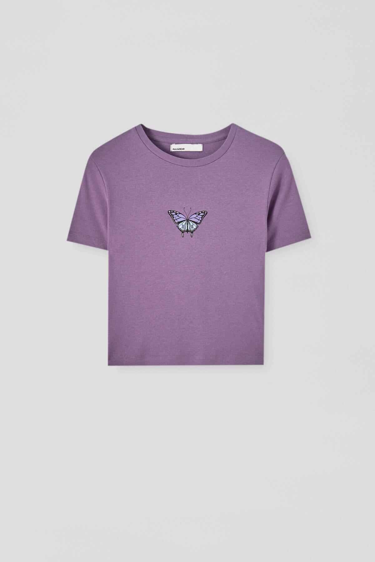 Pull & Bear Kadın  Leylak Grafik Baskılı Fitilli T-Shirt 09247324 4