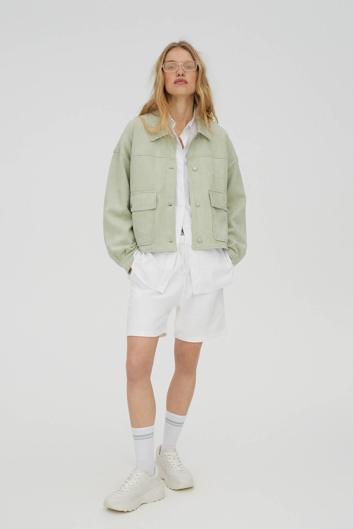 Pull & Bear Kadın  Açık Yeşil Crop Fit Suni Süet Ceket 04711315 2