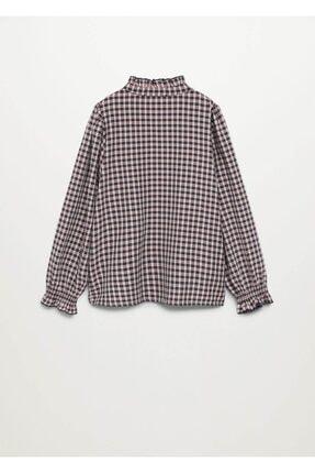 Mango Kız Çocuk Pembe Ekoseli Fırfırlı Gömlek 1