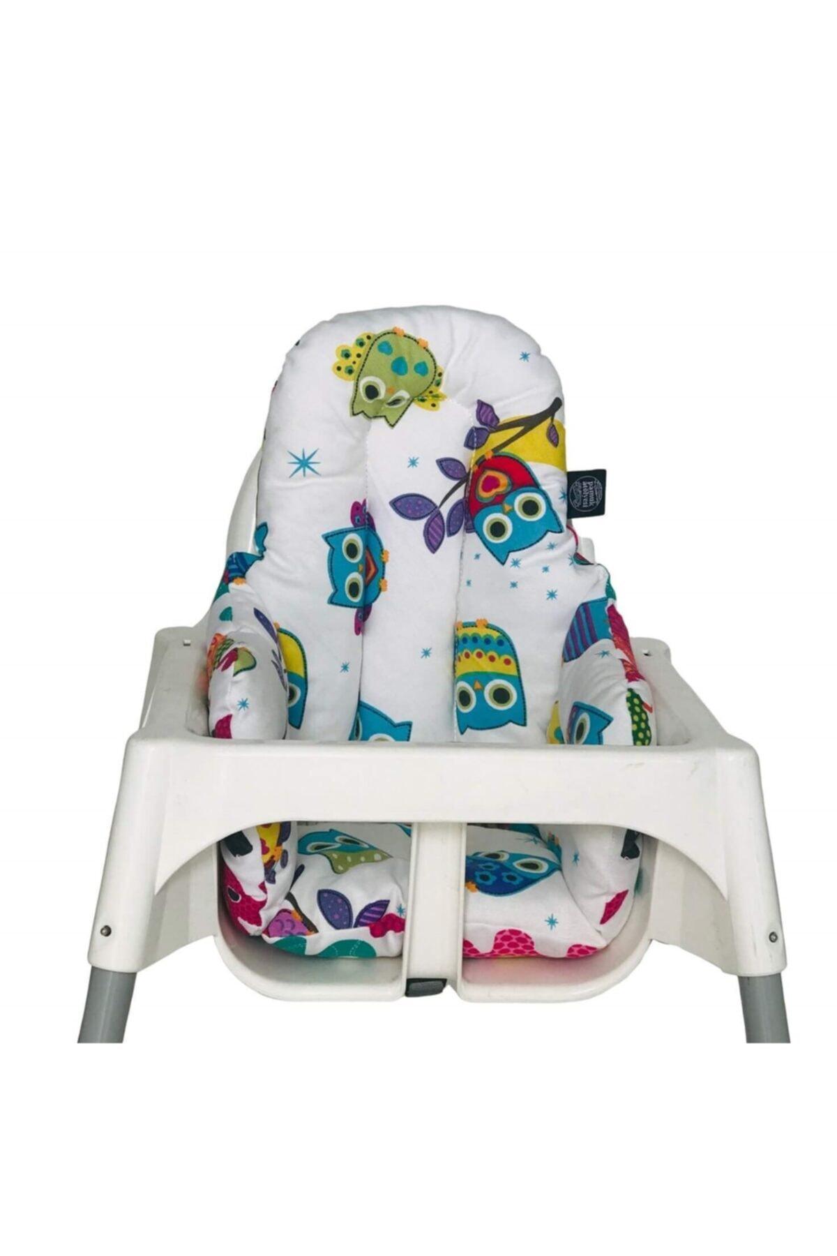 Baykuşlu Küçük Mama Sandalyesi Minderi - Çift Taraflı
