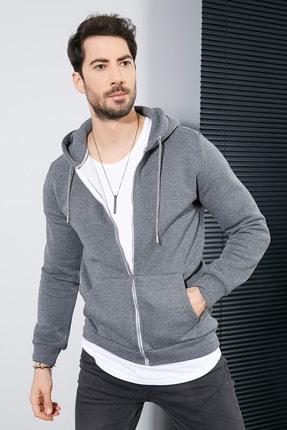 Sateen Men Erkek Antrasit Kanguru Cep Fermuarlı Sweatshirt 1