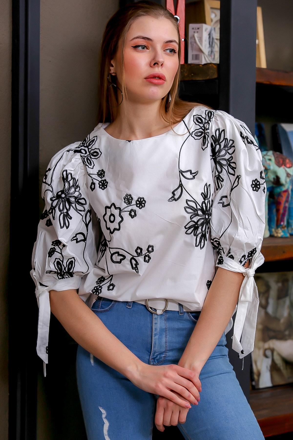 Chiccy Kadın Beyaz Bağlama Kol Detaylı Çiçek Nakışlı Sıfır Yaka Dokuma Bluz M10010200BL95616 3