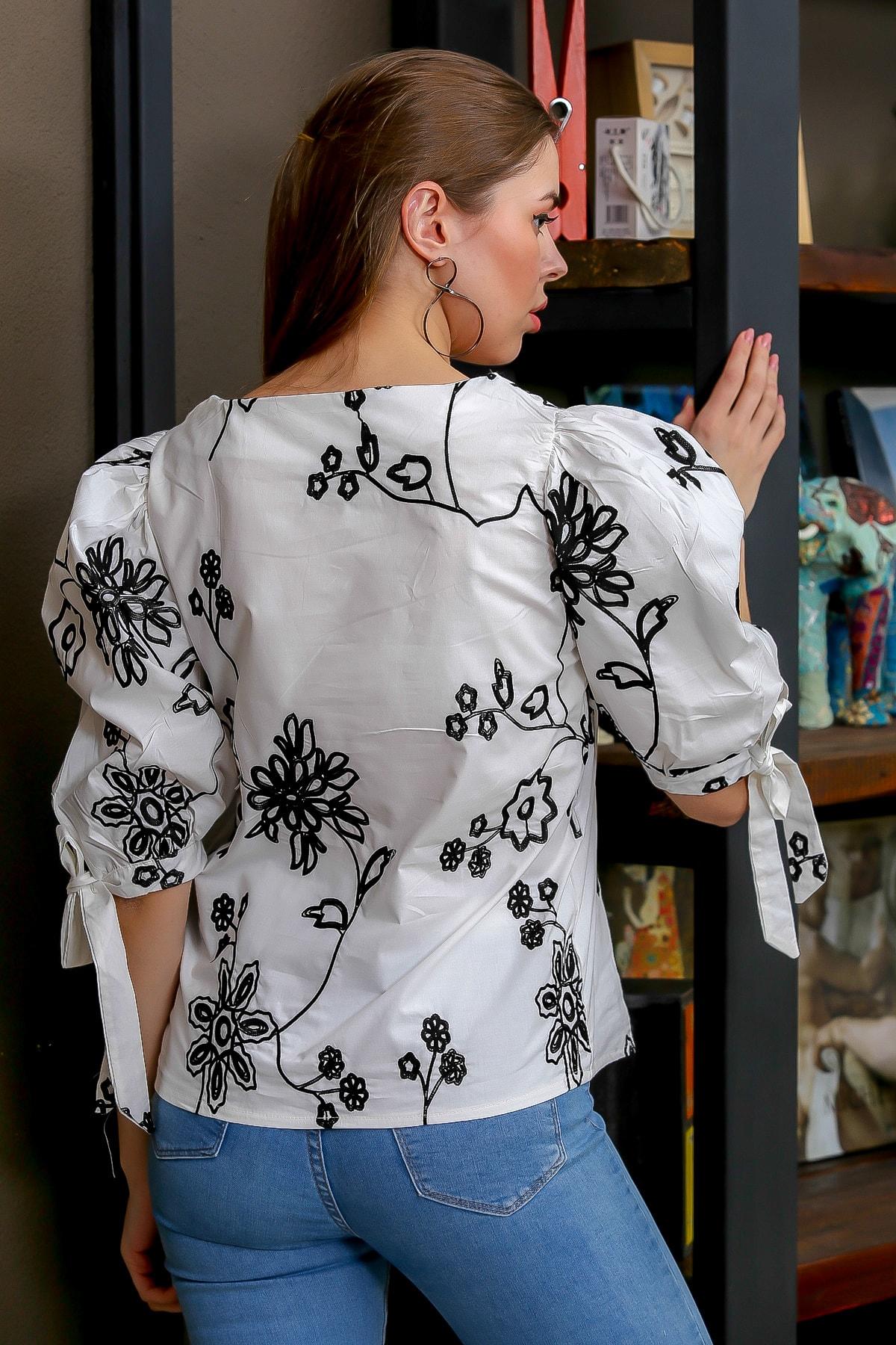 Chiccy Kadın Beyaz Bağlama Kol Detaylı Çiçek Nakışlı Sıfır Yaka Dokuma Bluz M10010200BL95616 4