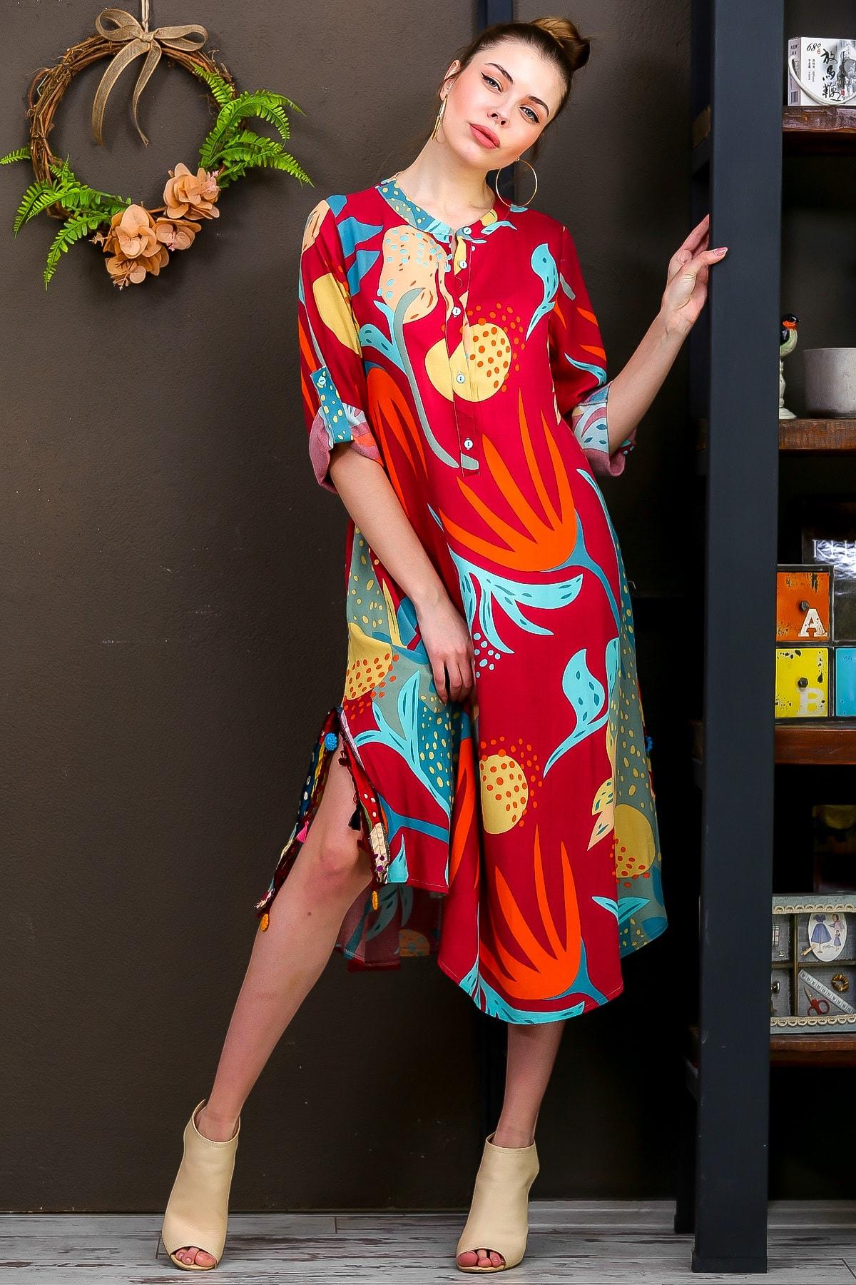 Chiccy Kadın Kiremit  Tropikal Desen Patlı Salaş Yanı Püskül Detay Yırtmaç Dokumaelbise M10160000EL95653 1