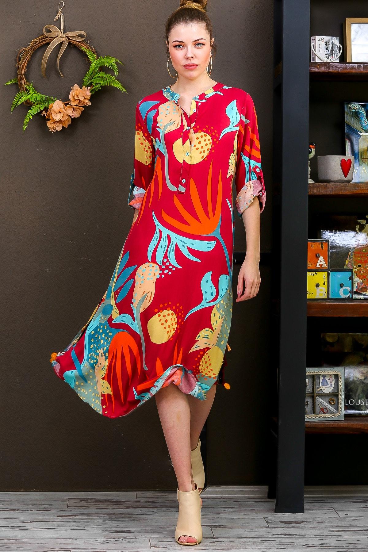 Chiccy Kadın Kiremit  Tropikal Desen Patlı Salaş Yanı Püskül Detay Yırtmaç Dokumaelbise M10160000EL95653 3
