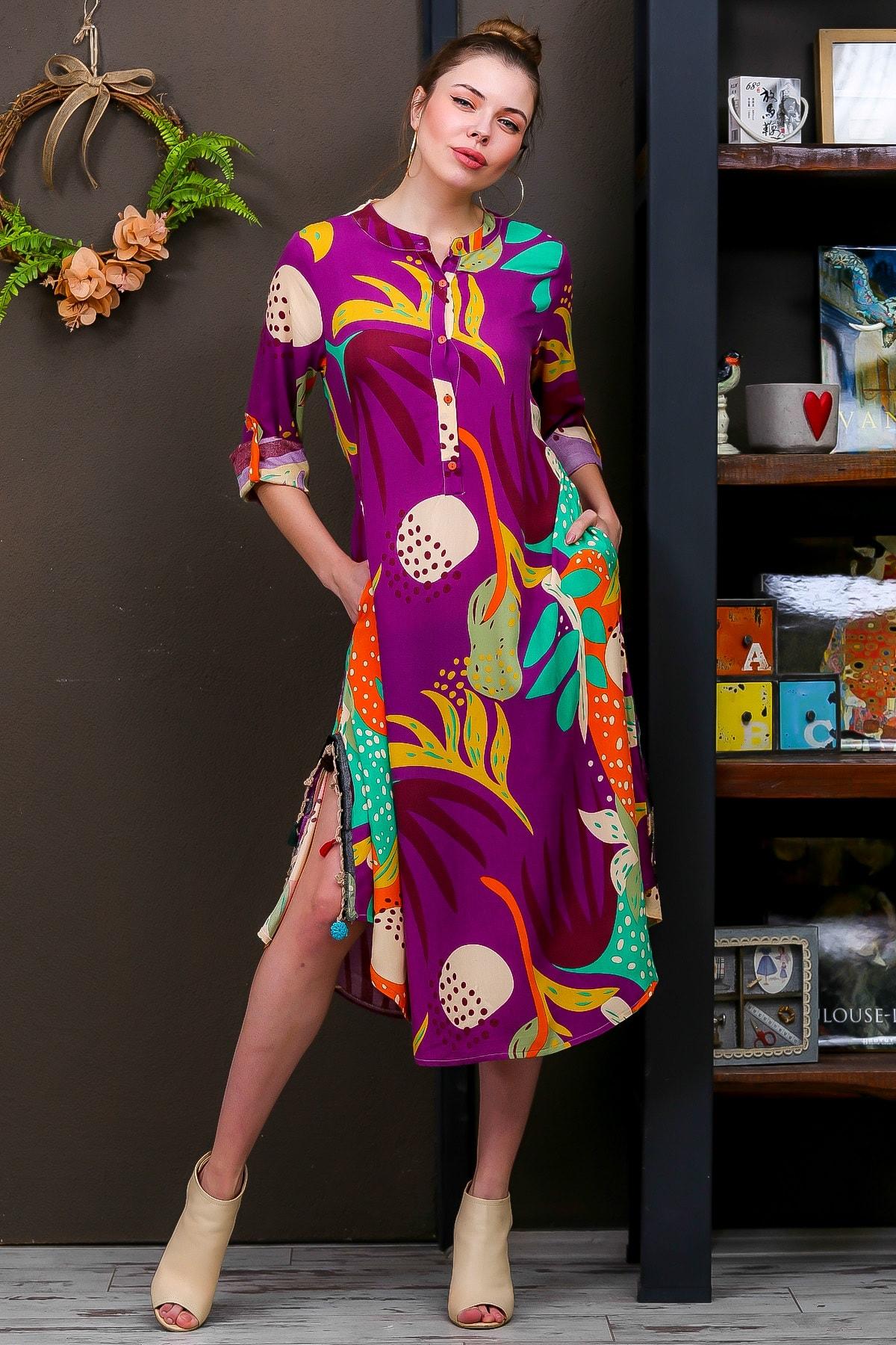 Kadın Mor Tropikal Desen Patlı Salaş Yanı Püskül Detaylı Yırtmaçlı Dokumaelbise M10160000EL95653