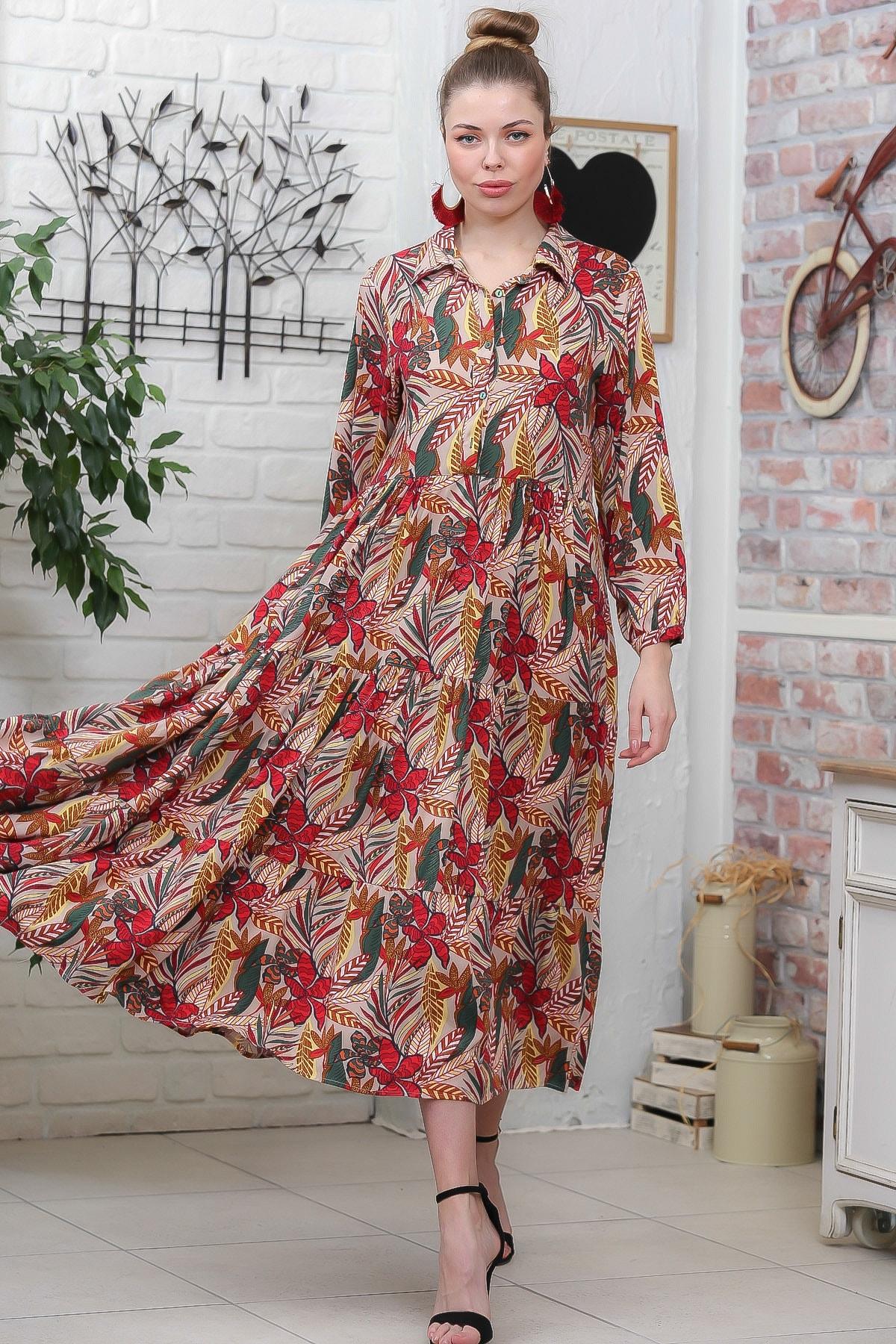 Chiccy Kadın Bej- Kırmızı Yaprak Desen Gömlek Yaka Düğmeli Cepli Kloş Dokuma Elbise M10160000EL95928 1