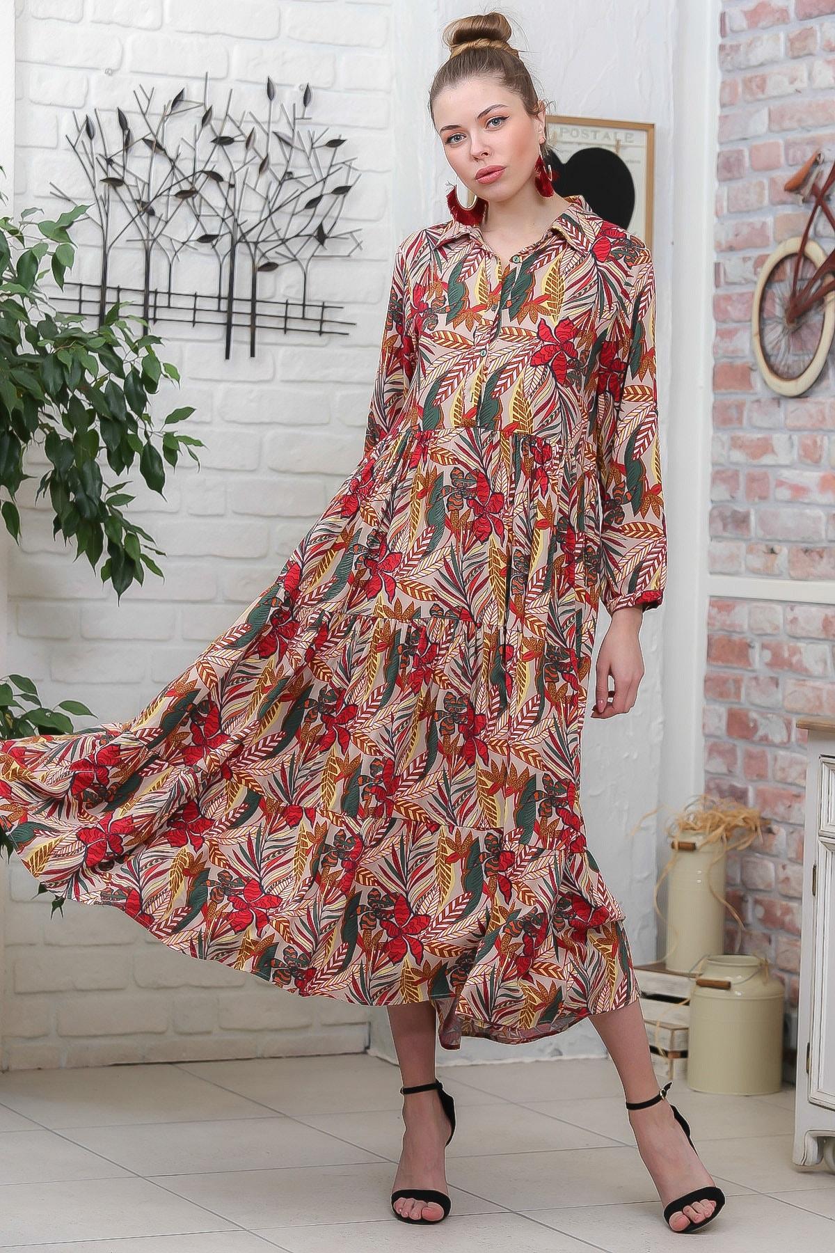 Chiccy Kadın Bej- Kırmızı Yaprak Desen Gömlek Yaka Düğmeli Cepli Kloş Dokuma Elbise M10160000EL95928 3