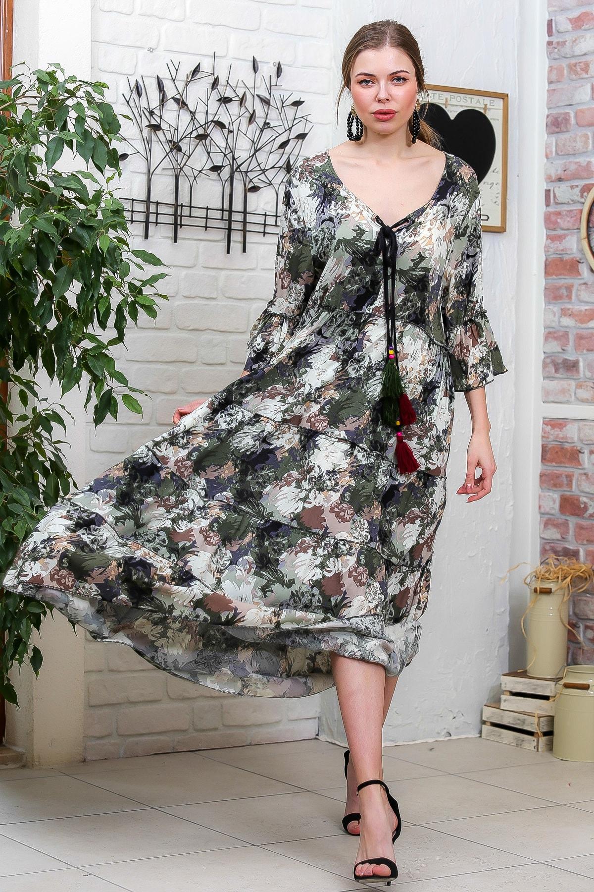 Chiccy Kadın Yeşil-Krem Suluboya Çiçek Desenli Püskül Bağcıklı Kat Kat Salaş Uzun Elbise M10160000EL95621 3