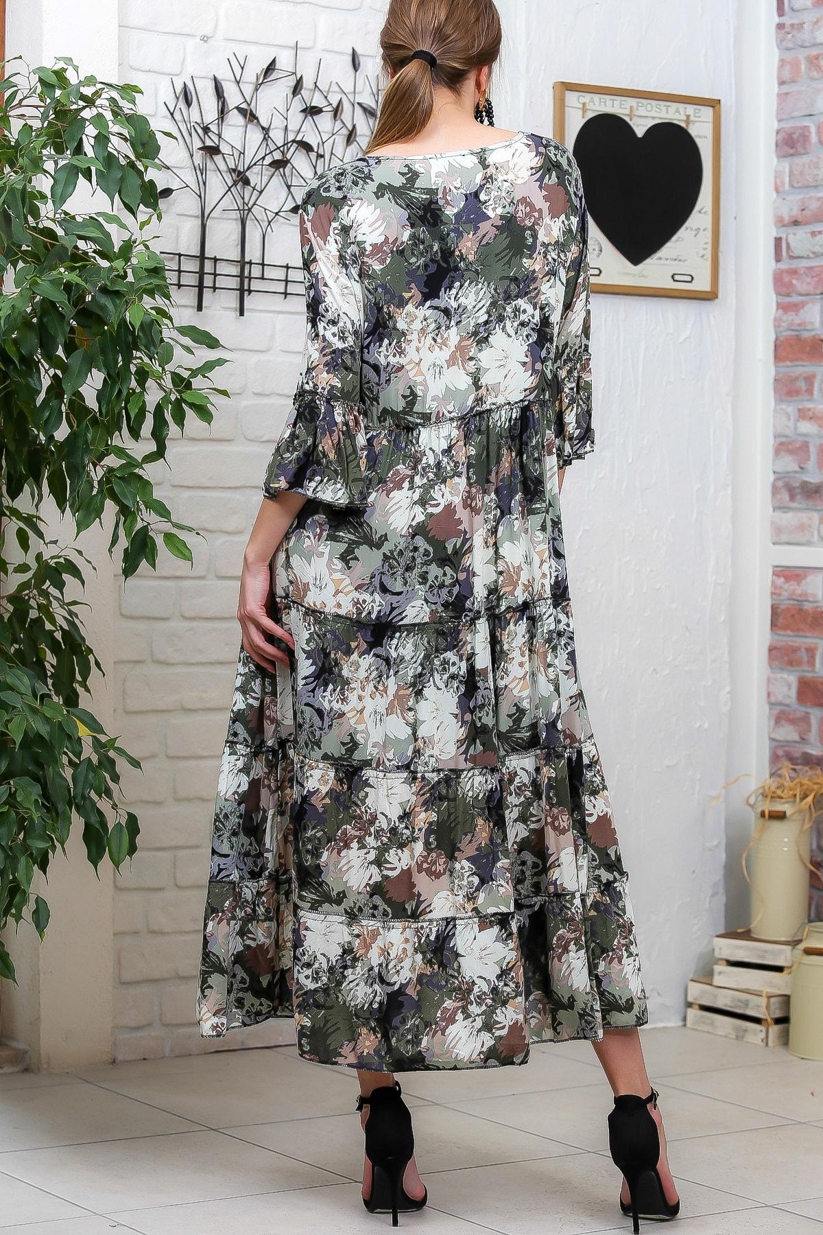 Chiccy Kadın Yeşil-Krem Suluboya Çiçek Desenli Püskül Bağcıklı Kat Kat Salaş Uzun Elbise M10160000EL95621 4