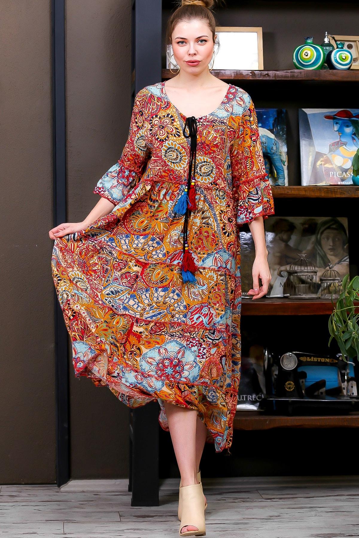 Chiccy Kadın Kiremit  Ottoman Desenli Püskül Bağcıklı Kat Kat Salaş Uzun Elbise M10160000EL95626 0