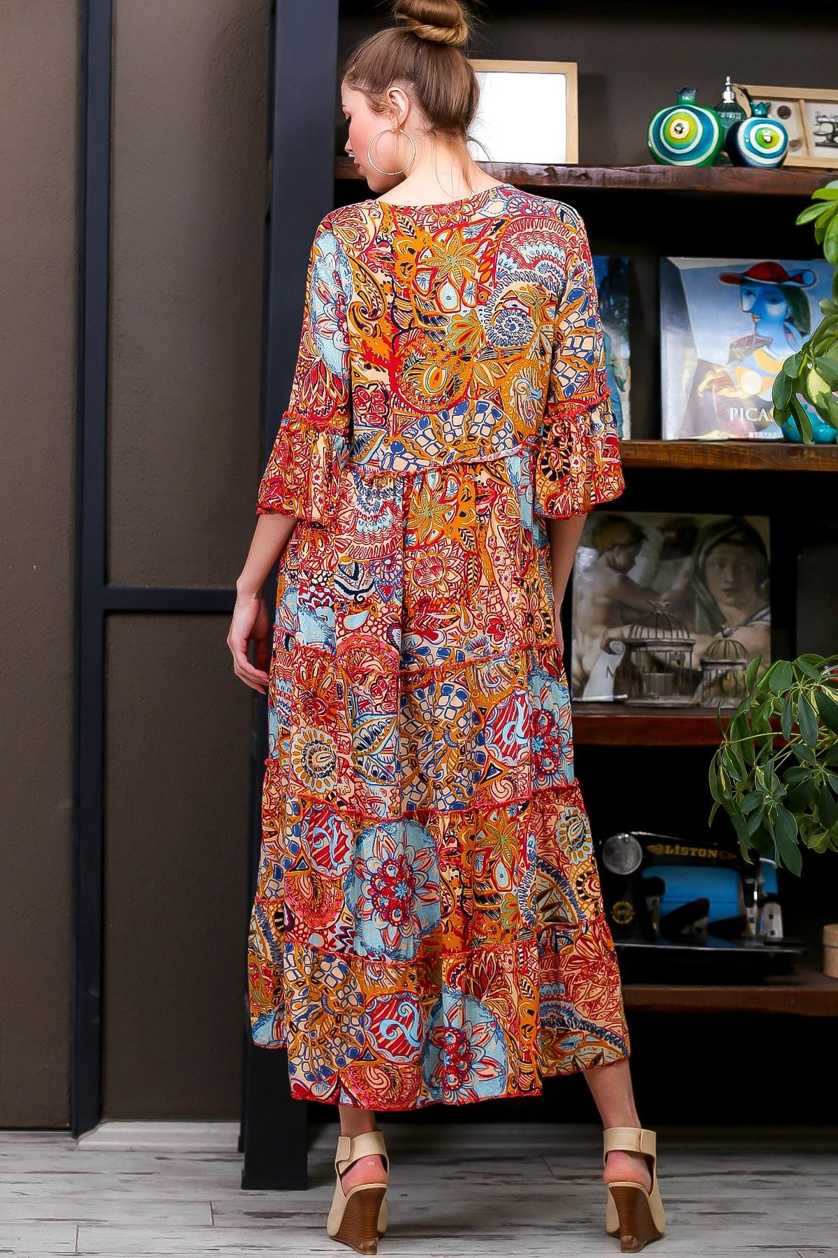 Chiccy Kadın Kiremit  Ottoman Desenli Püskül Bağcıklı Kat Kat Salaş Uzun Elbise M10160000EL95626 4