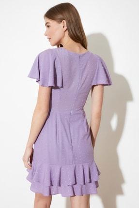 TRENDYOLMİLLA Lila Dokulu Kumaşlı Volanlı Elbise TWOSS21EL1531 4