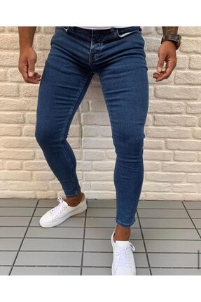 Erkek Lacivert Skinny Fit Jean Kot Pantolon ALUX444421