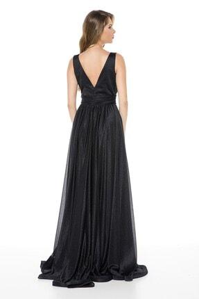 Abiye Sarayı Siyah Bel Detaylı Sırtı V Büyük Beden Uzun Abiye Elbise 4