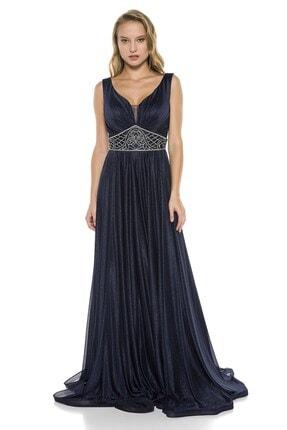 Abiye Sarayı Lacivert Beli Taş Detaylı Göğüs Dekolteli Uzun Abiye Elbise 1