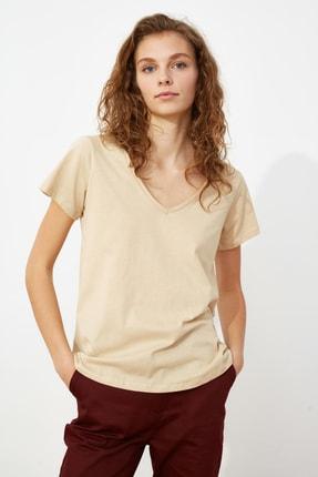 TRENDYOLMİLLA Haki-Bej %100 Pamuk Süprem V Yaka 2'li Paket Örme T-Shirt TWOSS20TS0142 2