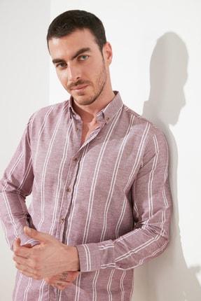 TRENDYOL MAN Bordo Erkek Slim Fit Düğmeli Yaka İnce Çizgili Gömlek TMNSS20GO0092 2