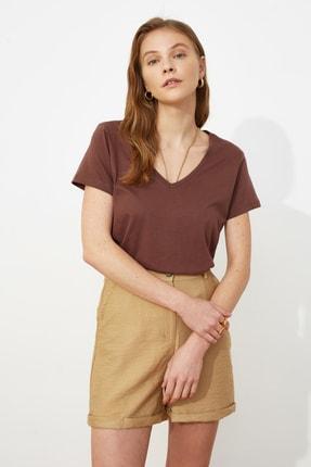 TRENDYOLMİLLA Kahverengi-Bej %100 Pamuk Süprem V Yaka 2'li Paket Örme T-Shirt TWOSS20TS0142 3