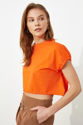 TRENDYOLMİLLA Turuncu Crop Örme T-Shirt TWOSS20TS1257 2
