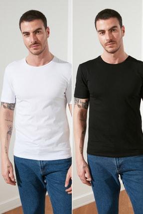 TRENDYOL MAN Çok Renkli Erkek 2'li Basic Paket Slim Fit T-Shirt TMNSS19BO0075 0
