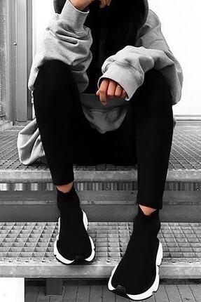 NOVELYA Erkek Taban Beyaz Çoraplı Yüksek Taban Sneaker Ayakkabı 1
