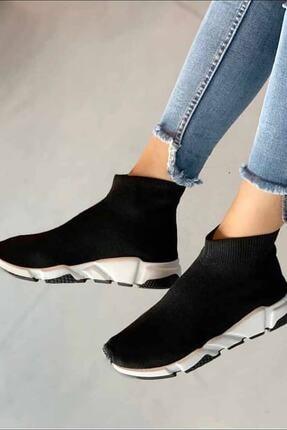 NOVELYA Erkek Taban Beyaz Çoraplı Yüksek Taban Sneaker Ayakkabı 4