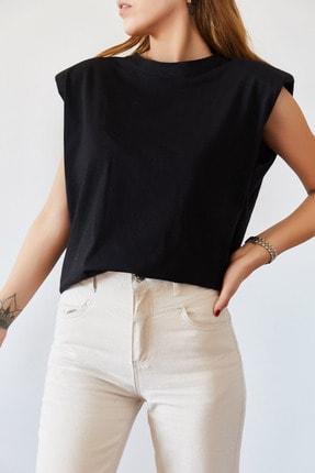 XHAN Kadın Siyah Vatkalı Basic T-shirt 0YXK2-43401-02 1