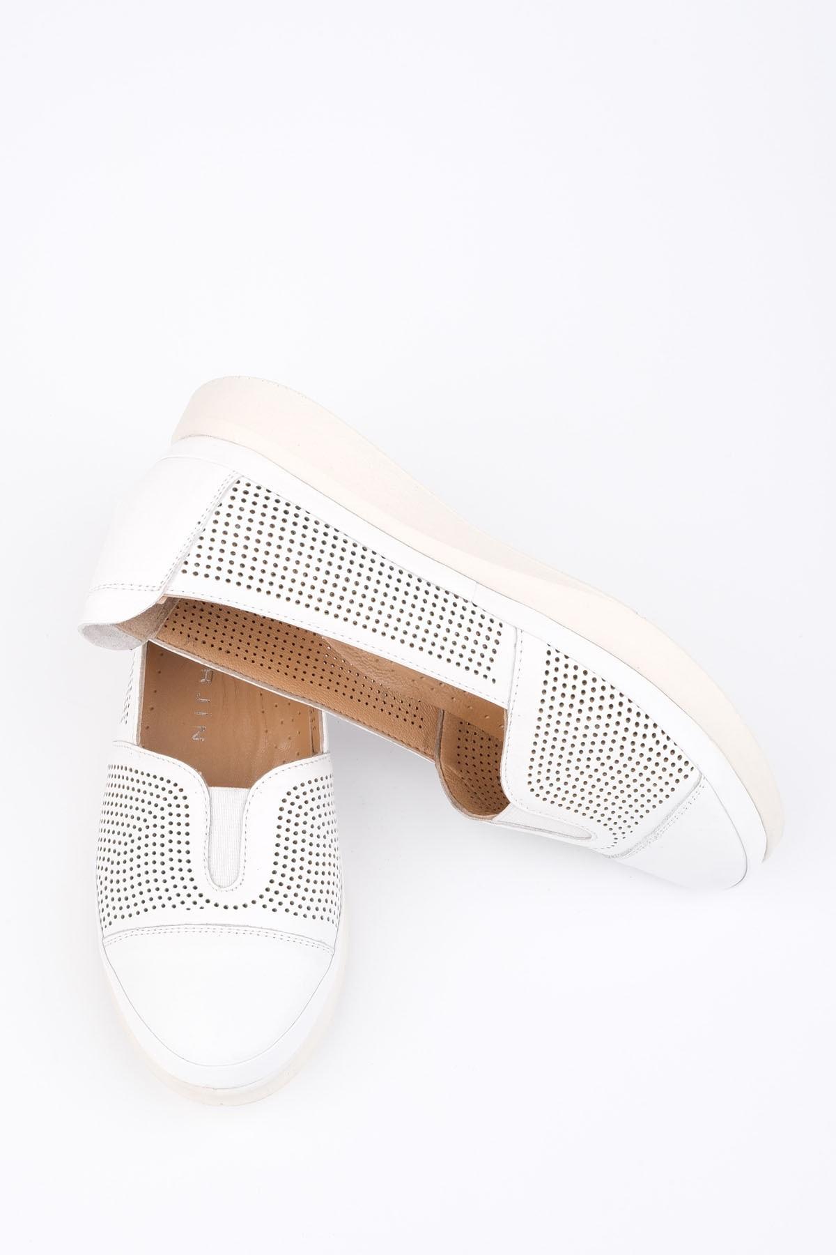 Marjin Kadın Beyaz Hakiki Deri Comfort Ayakkabı Vona 2