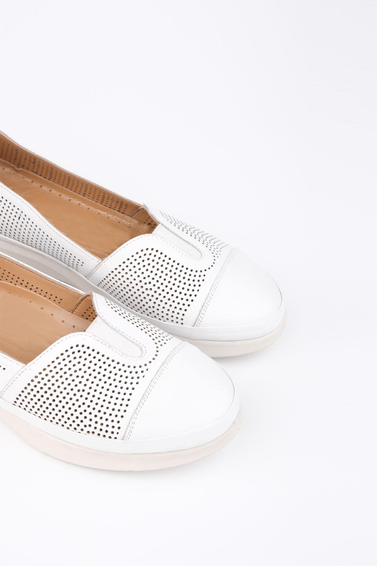 Marjin Kadın Beyaz Hakiki Deri Comfort Ayakkabı Vona 3