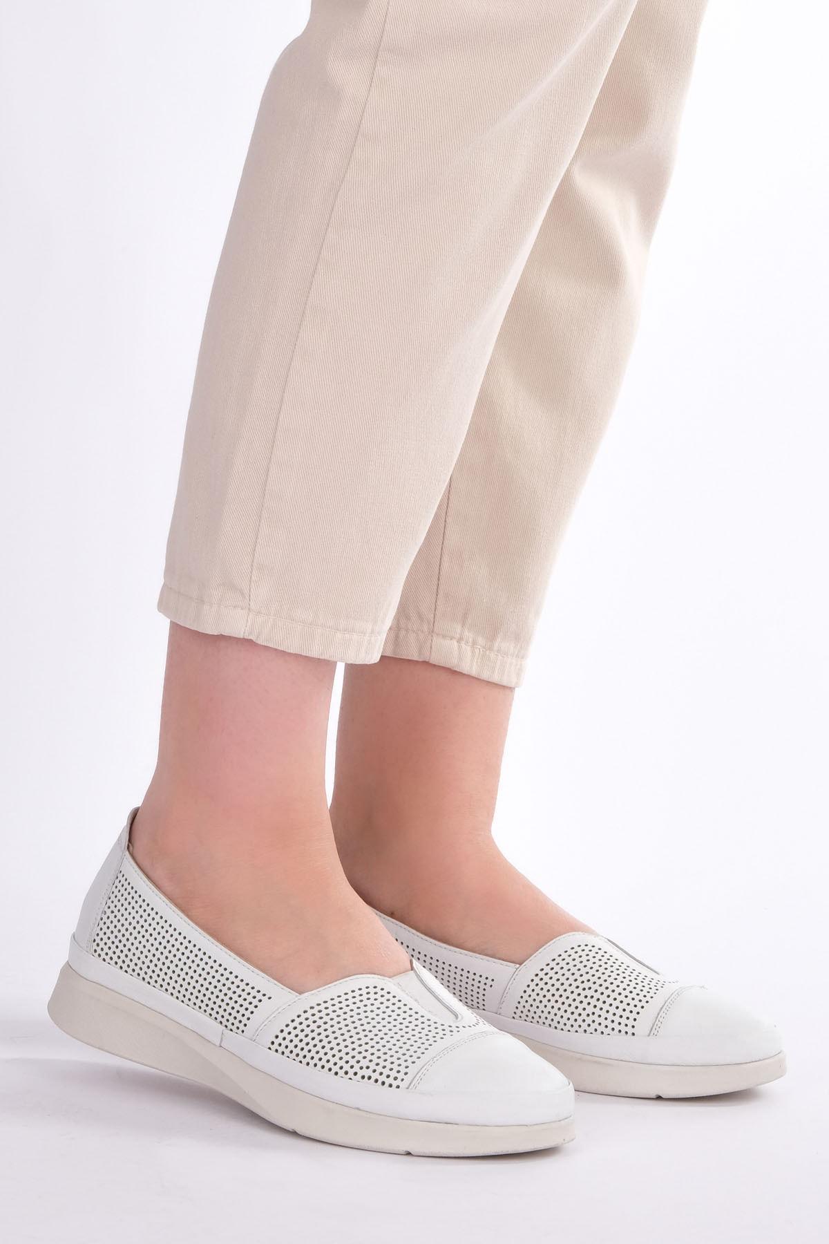 Marjin Kadın Beyaz Hakiki Deri Comfort Ayakkabı Vona 4