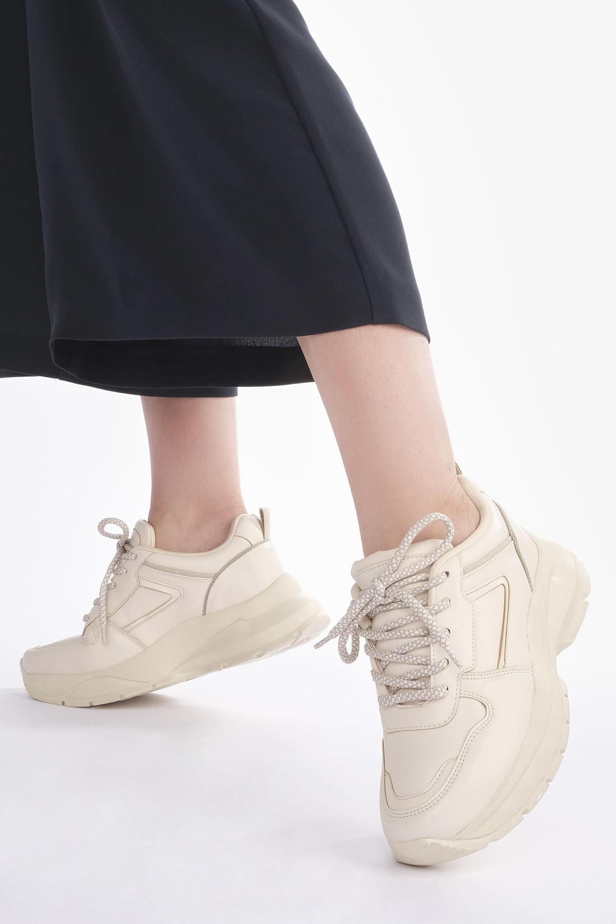 Marjin Kadın Bej Sneaker Dolgu Topuk Spor Ayakkabı Besri 0
